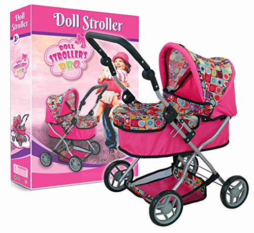 Doll Pram Super Cute with Adjustable Handle and Storage Basket