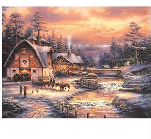 XIGZI Paysage d'hiver 5D DIY Diamond Peinture Plein Carré Décor À La Maison 30x40 Cm