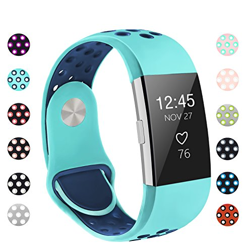 POY Replacement Bands Compatible for Fitbit Charge 2, Adjustable Breathable Wristbands with Air Holes Straps, Small Teal/Blue