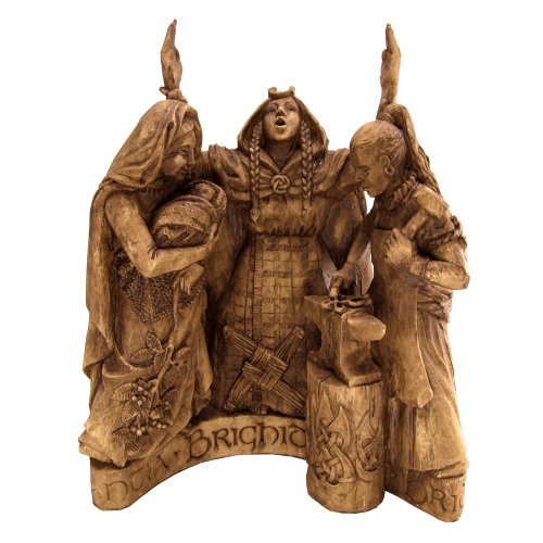Dryad Design Celtic Goddess Brigid Brigit Statue Wood Finish