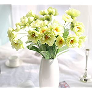 Skyseen 12 Bouquets 2 Heads Artificial Rosemary Poppy Flowers for Home Wedding Party Decor,Green 7