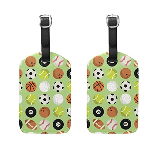 Briefcase Leather Baseball (Top Carpenter 2 Packs Basketball Baseball Football Luggage Hand-bag Claim Baggage ID Tag Travel Identifier Suit-case Label - Leather by)