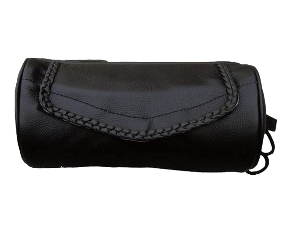 Genuine Soft Leather Universal Motorcycle Tool Bag w/Braid Trim by Allstate Leather