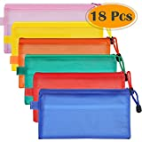 Selizo 18 Pcs Pencil Pouch Case Zipper Cosmetic Makeup Bag Bulk for Cosmetic Makeup Office Supplies and Travel