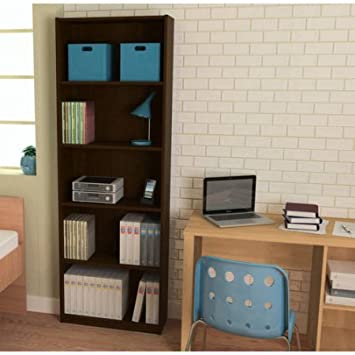 Ameriwood 5-Shelf Bookcase, Decorative bookcase is easy to assemble Doubles as an open shelving unit Espresso