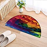 Cheap Print Area Rug Triangle Shaped Rainbow Like Design Perfect for Any Room, Floor Carpet W24 x H16 INCH
