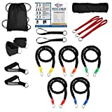 "FitCord ""ELITE"" Band Load Kits. American Made. Home & Portable Gyms include 5 Highest Grade Safety Sleeve Bands, Handles, Door Anchor, Ankle & Wrist Straps, Bag & Exercise Manual. Lifetime Warranty."