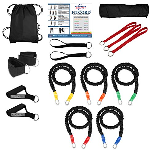 "FitCord ""ELITE"" Band Load Kits. American Made. Home & Portable Gyms include 5 Highest Grade Safety Sleeve Bands, Handles, Door Anchor, Ankle & Wrist Straps, Bag & Exercise Manual. Lifetime Warranty. by FitCord Resistance Bands"