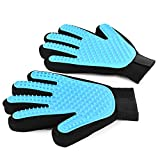 #9: Wantell Grooming Glove Pet Grooming Glove Dog Cat Shedding Brush Silicone Pet Hair Removal Glove Hair Removal Mitts (Medium 1pair)
