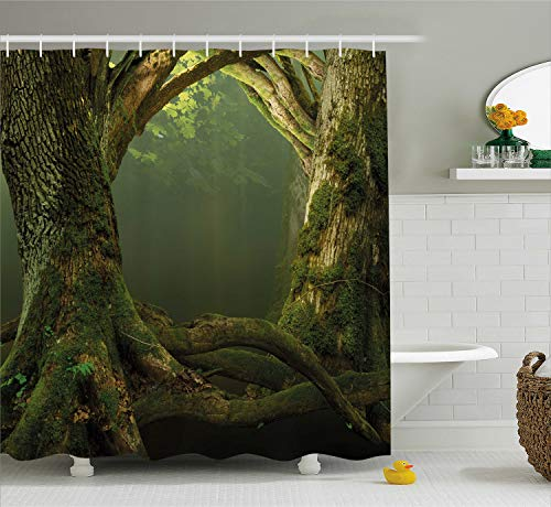 Ambesonne Nature Shower Curtain, Twiggy Old Tree Branches Growth Life Themed Forest Woodland Foggy Dark Misty Scene, Fabric Bathroom Decor Set with Hooks, 70 Inches, Olive -