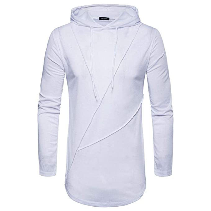 Sudadera Hombre con Camiseta Larga Slim Manga Fit con Capucha Modernas Casual De Los Hombres Negro con Cuello En V Tapa De La Camiseta De La Blusa Camisa ...