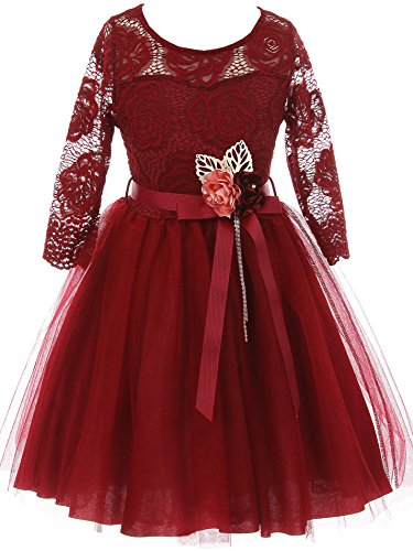 Big Girl Floral Lace Top Tulle Flower Holiday Party Flower Girl Dress USA Burgundy 12 JKS 2098 (Size Flower Plus Girl Dresses)