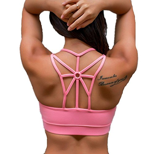 Pink Sports Bra - Women's Padded Sports Bra Criss Cross Back High Impact Strappy Yoga Bra