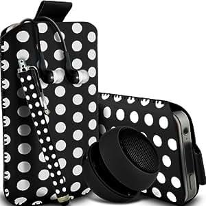 Samsung Galaxy S3 i9300 Protección Premium Polka PU ficha de extracción Slip In Pouch Pocket Cordón piel cubierta de la caja de liberación rápida, grande Polka Stylus Pen, Jack de 3,5 mm auriculares auriculares auriculares y mini recargable portátil de 3,5 mm Cápsula Viajes Bass Speaker Jack Negro y Blanco por Spyrox