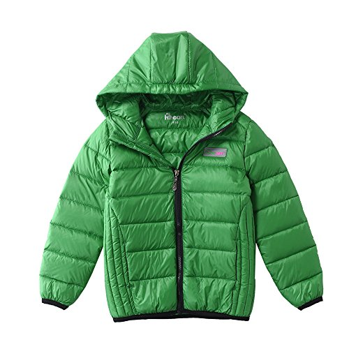 M2C Boys Hoodie Lightweight Windproof Puffer Duck Down Jacket 4T Grass Green (Down Jacket Green)
