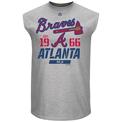Atlanta Braves Mens Grey Flawless Victory Sleeveless Sleeve Tee Shirt by Majestic (Large) (Show Shirt Victory)