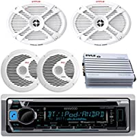 Kenwood Bluetooth USB CD Marine Boat Yacht Radio Stereo, 2 X 6x9 Inch Marine Speakers & 2 X 6.5 Marine Speakers, 400W Marine Amplifier System - Outdoor Marine Audio Kit