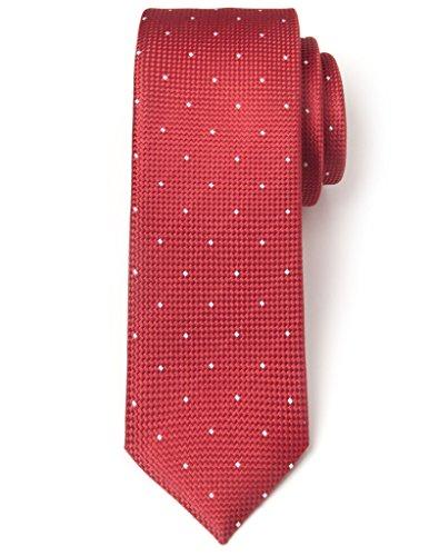Origin Ties Square Polka Dots 100% Silk Men's Skinny Tie Red Dot Narrow Tie