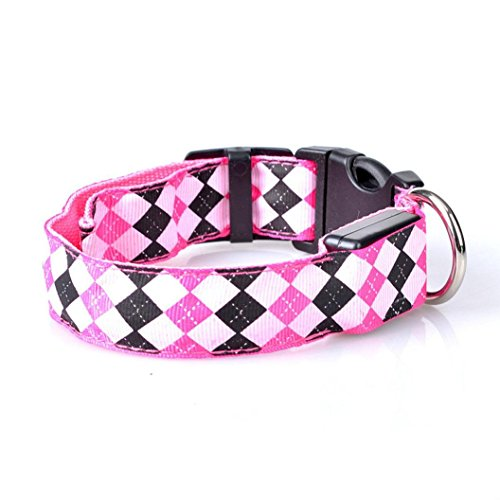 Adjustable Pet Collars for Dog Cat,Waymine Pet Dog LED Glow Light Leash Collar Diamond Pattern Collar Buckle