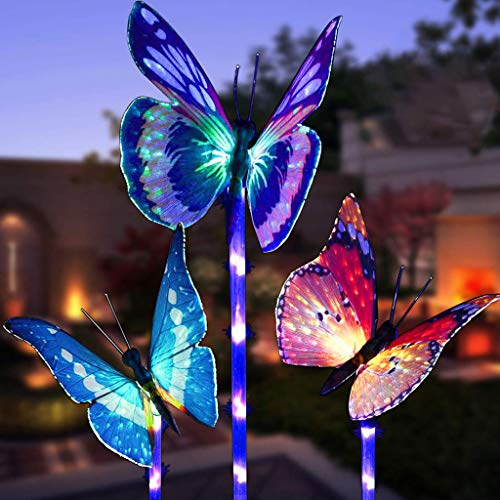 m·kvfa 3PC Butterfly Solar Power LED Light Figurine Stake Lamp Decorative Landscape Lighting for Patio Outdoor Garden Lawn Yard Pathway