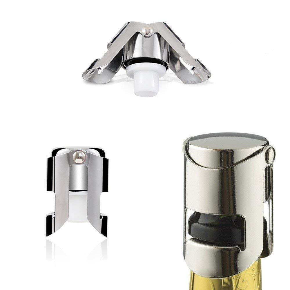 Champagne Bottle Stopper/Cork/Sealer/Saver, 3 Pack Stainless Steel Sparkling Wine Bottle Plug Sealer Set with a Longer Sealing Plug