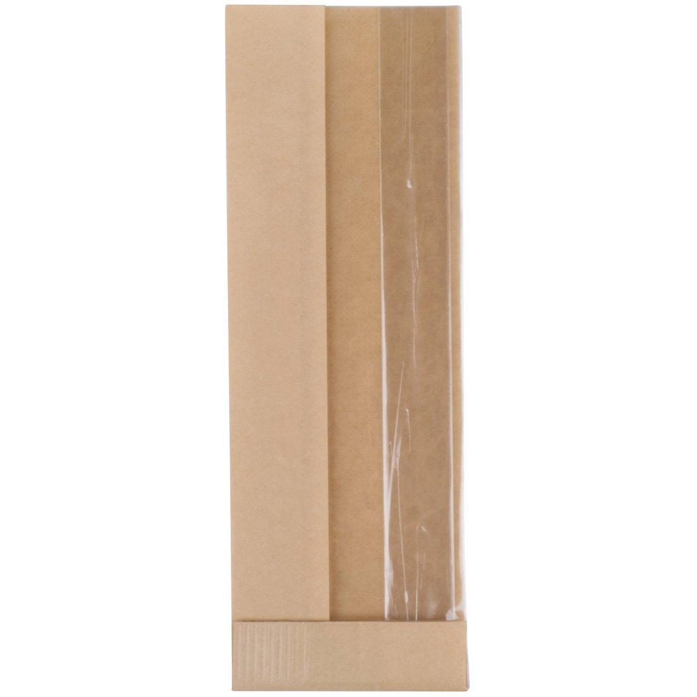 TableTop King Bagcraft Papercon 300050 3 1/4'' x 2'' x 10 1/4'' Dubl View ToGo! Kraft Window Sandwich / Half Baguette / Bakery Bag - 500/Case