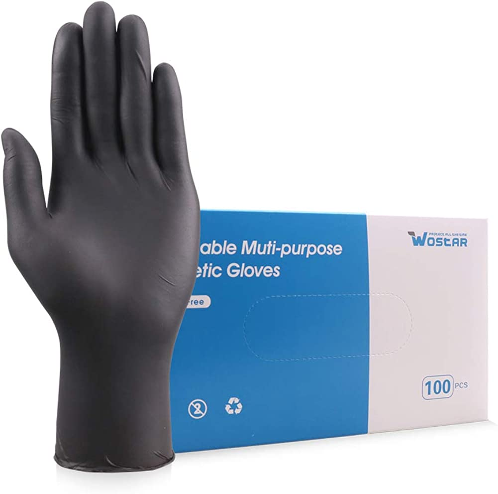 Wostar Synthetic Nitrile Gloves 3 Mil Pack of 100 Latex Free Disposable Gloves…