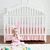 """TILLYOU Baby Bed Percale Ruffled Crib Skirt, 100% Natural Cotton, Nursery Crib Bedding Skirt for Baby Boys or Girls, 14"""" Drop/Pink"""