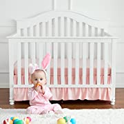 TILLYOU Baby Bed Percale Ruffled Crib Skirt, 100% Natural Cotton, Nursery Crib Bedding Skirt for Baby Boys or Girls, 14  Drop/Pink