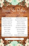Would She Rather Rustic Bridal Shower Games, Premium Card Stock Bride Game Cards, Bridal Shower Decorations, Bride To Be Gifts, Wedding Party Decorations, Party Favors (20 Guests) --