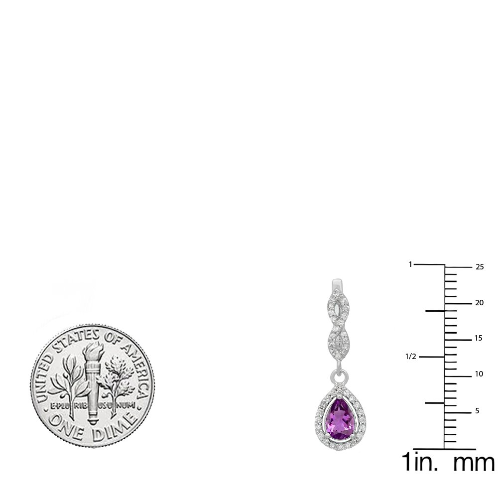 14K White Gold Pear Amethyst & Round White Diamond Ladies Halo Style Dangling Drop Earrings by DazzlingRock Collection (Image #2)