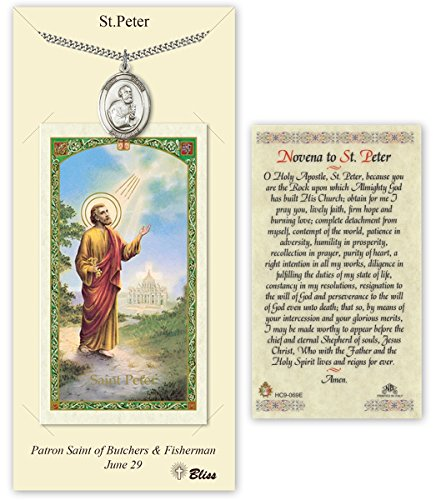 Pewter Saint Peter the Apostle Medal with Laminated Holy Prayer Card