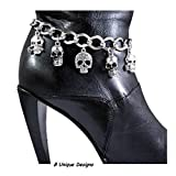 Skull Boot Chains Boot Bracelet Bling Chain Multi Skulls Motorcycle Accessory Personalized Word Tag and/or Riding Bell Jewelry