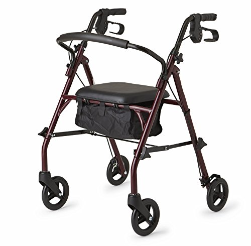 Healthcare Direct 100RA Steel Rollator Walker with 350 lb. Weight Capacity, Burgundy from Healthcare Direct