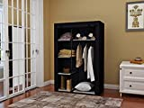 JEROAL Closet Wardrobe Portable Clothes Storage Organizer with Metal Shelves and Dustproof Non-Woven Fabric Cover,41.73x17.72x63.35 in(WxDxH) (Black)