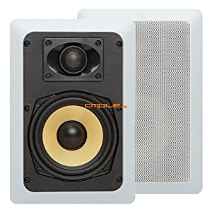 "Cmple - 5.25"" Surround Sound 2-Way In-Wall/In-Ceiling Kevlar Speakers (Pair) - Rectangular"