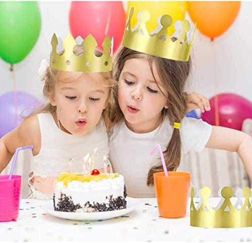 Tslinc 24 Pieces Paper Crown Golden King Crowns Gold Foil Party Crown Hat Cap for Birthday Celebration Baby Shower Photo Props