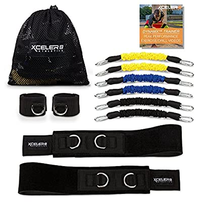 DYNAMX TRAINER: 11 Piece Speed & Agility Resistance Bands Training Set | Training Videos | Build Muscle Strength/Endurance, Acceleration, Top-End Speed, Explosiveness, Mobility for Athletic Sports