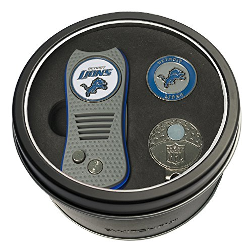 Golf Divot Cap Tool Ball (Team Golf NFL Detroit Lions Gift Set Switchfix Divot Tool, Cap Clip, & 2 Double-Sided Enamel Ball Markers, Patented Design, Less Damage to Greens, Switchblade Mechanism)