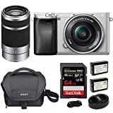 Cheap Sony Alpha a6300 Silver w/ 16-50mm & 55-210mm Lenses & 64GB Bundle
