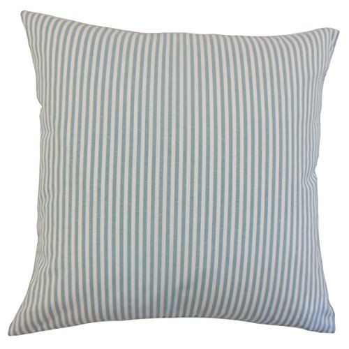 (The Pillow Collection Ira Stripes Bedding Sham Aqua Euro/26