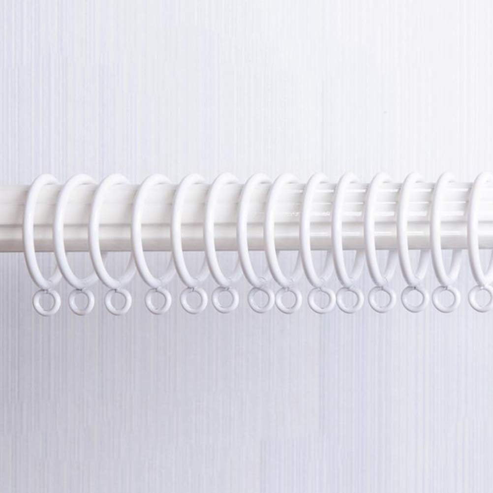VORCOOL 10Pcs 4.5cm White Wood Curtain Rod Rings with 10pcs Metal Curtain Clip Rings