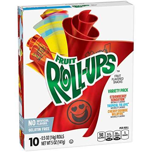 Betty Crocker Fruit Snacks, Fruit Roll-Ups, Variety Snack Pack, 10 Rolls, 0.5 oz Each (0.5 Point Cherry)