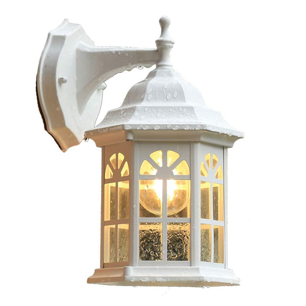 Vintage Wandleuchte, Wasserdichte Außenwandleuchten Milchig weißes Aluminiumglas Wandleuchte Europäischer Garten Hof Garten Korridor Gang Außenbeleuchtung E27 Lampenfassung
