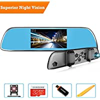 HD Rearview Mirror Camera, P60 Front and Rear Dual Lens Dash Cam with Backup Camera Kit, 5 inches 1080P Ultra HD IPS Screen, Superior Night Vision, Advanced Parking Monitor,32GB Card