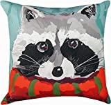 Decorative Pillows - North Woods Racoon Pillow - 18'' Square - Indoor Outdoor