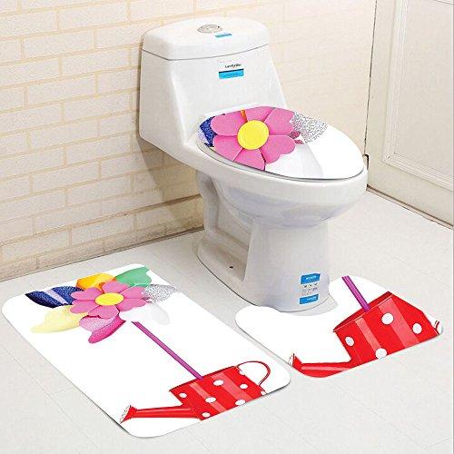 American Cut Pinwheel (Keshia Dwete three-piece toilet seat pad customPinwheel Collection Colored Pinwheel In Watering Can Vibrant Colors Plastic Rainbow Flower Spiral Wind)