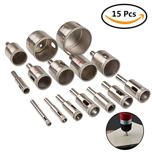 Acrux7 Diamond Hole Saw Cutter Kit, 15pcs Hollow Drill Bit Set Diam Range 6-50mm ( 1/4-2inch ), Electric Holesaw Blades Cutting for Porcelain Tile, Ceramic, Glass 50 Ceramic Tiles