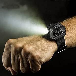 Meiyiu Super Bright Watch Flashlight Torch Lights Electronic Watch Outdoor Sports USB Rechargeable Mens Wrist Watch Wristband Lamp