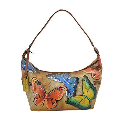 Anuschka Hand Painted Designer Leather Handbag –Christmas gifts for women- East West Medium Hobo (Earth Song 510 EST)